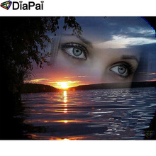 DIAPAI Diamond Painting 5D DIY 100% Full Square/Round Drill Beauty eyes sunset Embroidery Cross Stitch 3D Decor A24586