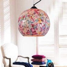 Цветные стеклянные подвесные светильники мода аппликация мозаика подвесной светильник краткое проходу огни бар балкон подвесные светильники