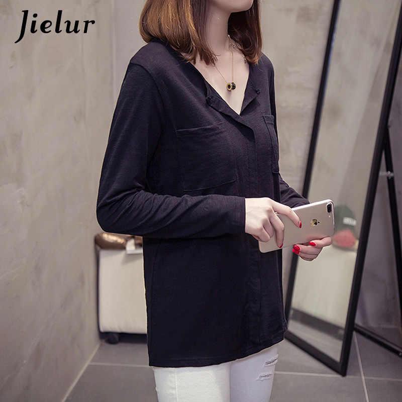 Jielur однотонные футболки с карманами для женщин белые футболки женские майки цвет розовый черный базовый с длинным рукавом футболка для женщин Прямая поставка