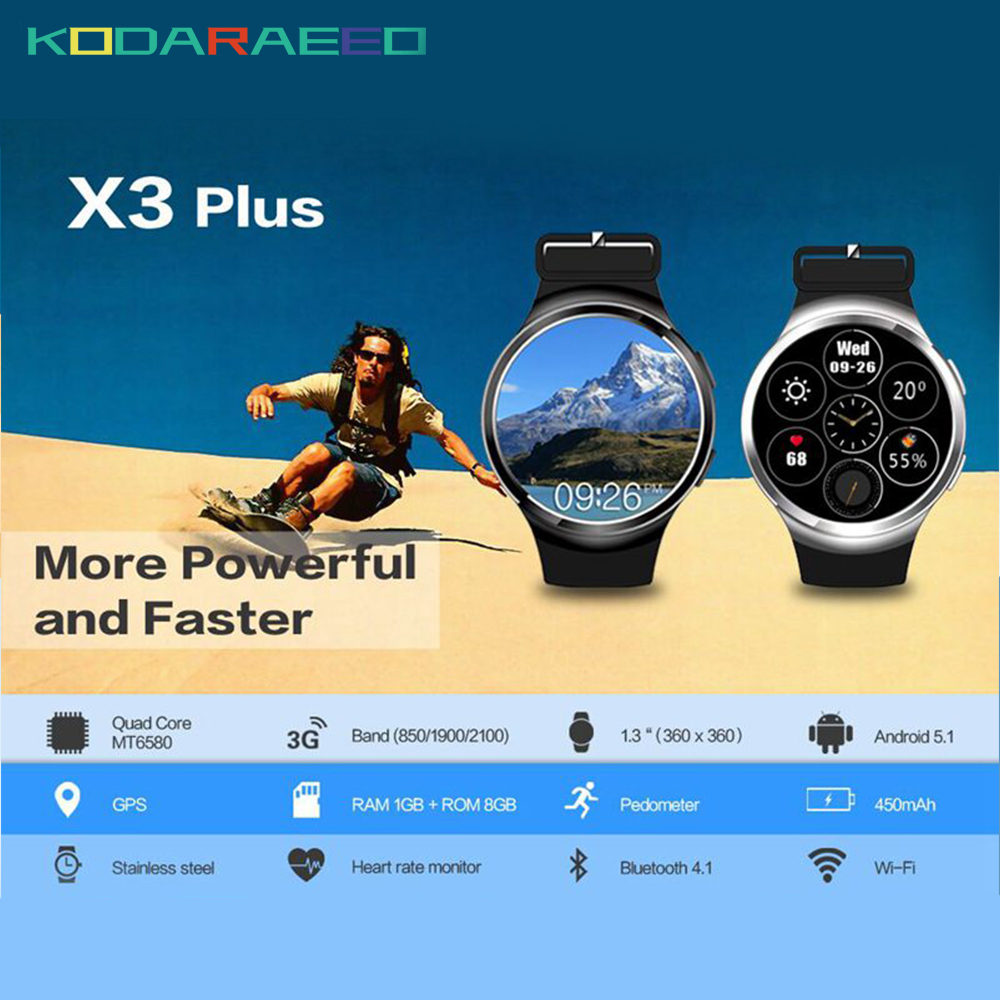X3 Plus Smart Watch android 5.1 K9 PK KW88 DM368 MTK6580 1GB+8GB Quad Core Smartwatch phone Heart Rate tracker for iOS Android kw06 smart watch android 5 1 mtk6580 quad core pk kw88 wifi gps 3g smartwatch phone fitness tracker heart rate tracker watch man