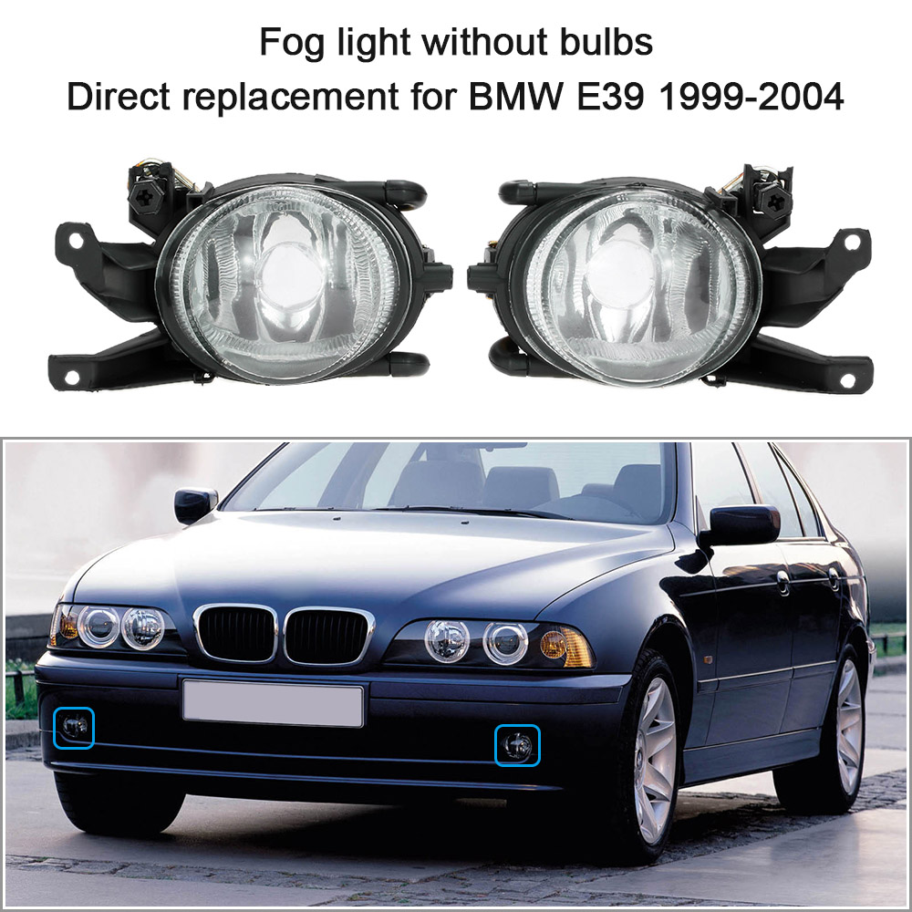 Car-styling Front Fog Light Headlights Lens1 Pair Daytime Running Lights without Bulbs Replacement Kit for BMW E39 1999-2004