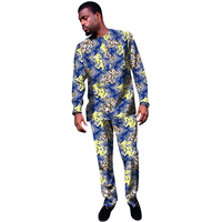 African Men Sets Leisure Design Men Tshirt +Trousers Fashion New Color Printing Cloth Festive Costume Africa Clothing Customized