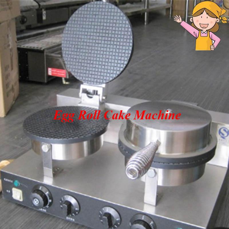 Gematigd Commerciële Dubbele Kop Rvs Ijs Baker Machine Wafel Kegel Ei Roll Making Machine Yu-2