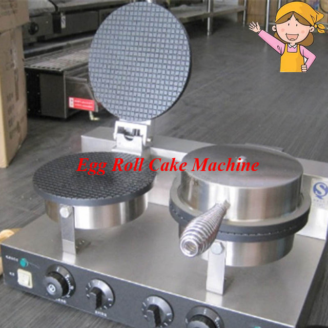 Commercial double head stainless steel Ice cream Baker machine waffle cone egg roll making machine YU-2