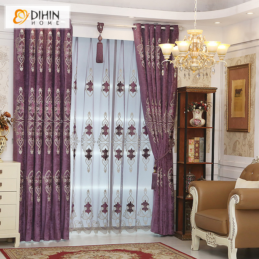 1 Pc Curtain And 1 Pc Tulle Peony Luxury Window Curtains: DIHIN 1 PC Embroidered Luxury European Curtain Window