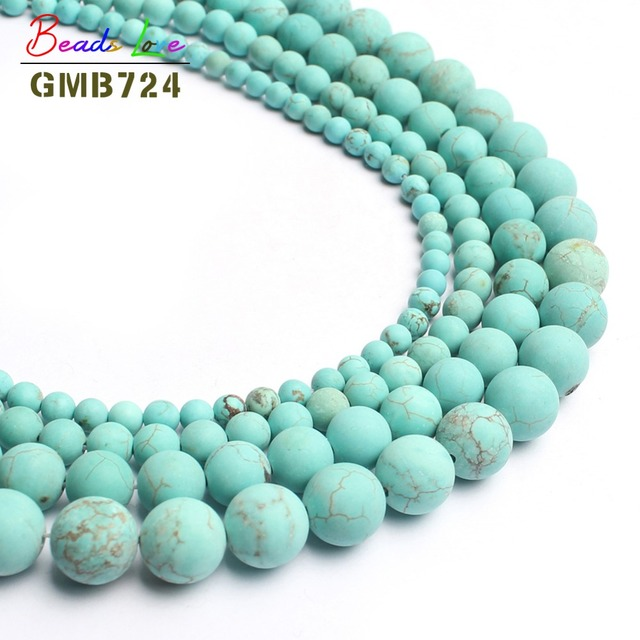 natural stone beads dull polish matte blue turquoises round beads for jewelry ma