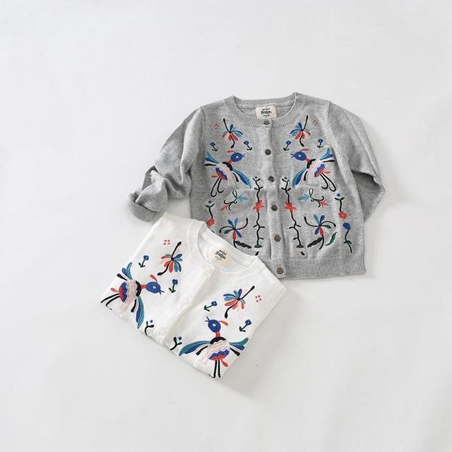 Niñas Clásica Chaqueta de Punto Suéteres de Punto Para Niñas Con pájaros Bordados de Algodón capa Del Suéter de la Manga Completa
