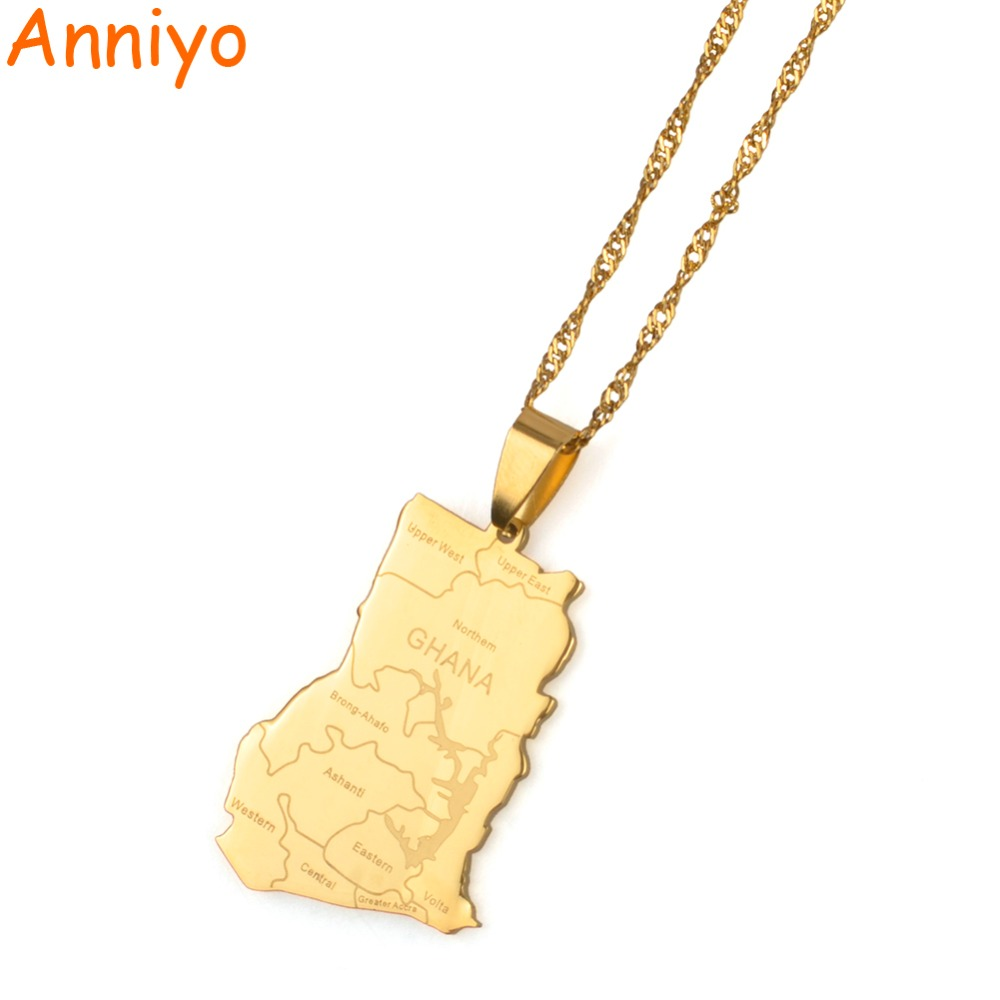 Anniyo Gold Color Ghana Country Map With State Name Pendant Necklaces Charm Ghanaian Jewelry Gifts #019821