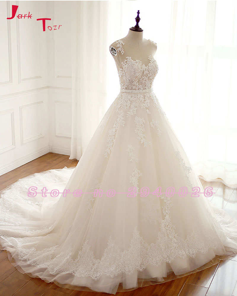 Jark Tozr Custom Made A line Wedding Gowns Plus Size Bruidsjurken Appliques  Lace Beading Sashes Wedding Dresses Imported China-in Wedding Dresses from  ... 3e60f1dd4f11