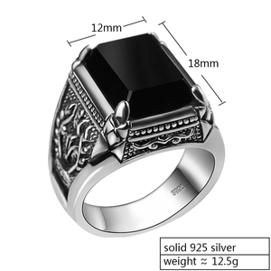 Image 2 - ZABRA Real 925 Silver Black Zircon Ring For Men Female Engraved Flower Men Fashion Sterling Thai Silver Jewelry Synthetic Onyx