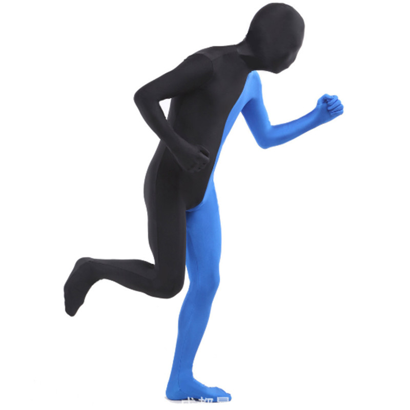 New Double Color Zentai Suits high quality Halloween Costumes For MenCustom SkinTight Lycra Cosplay Full Body One Piece Bodysuit