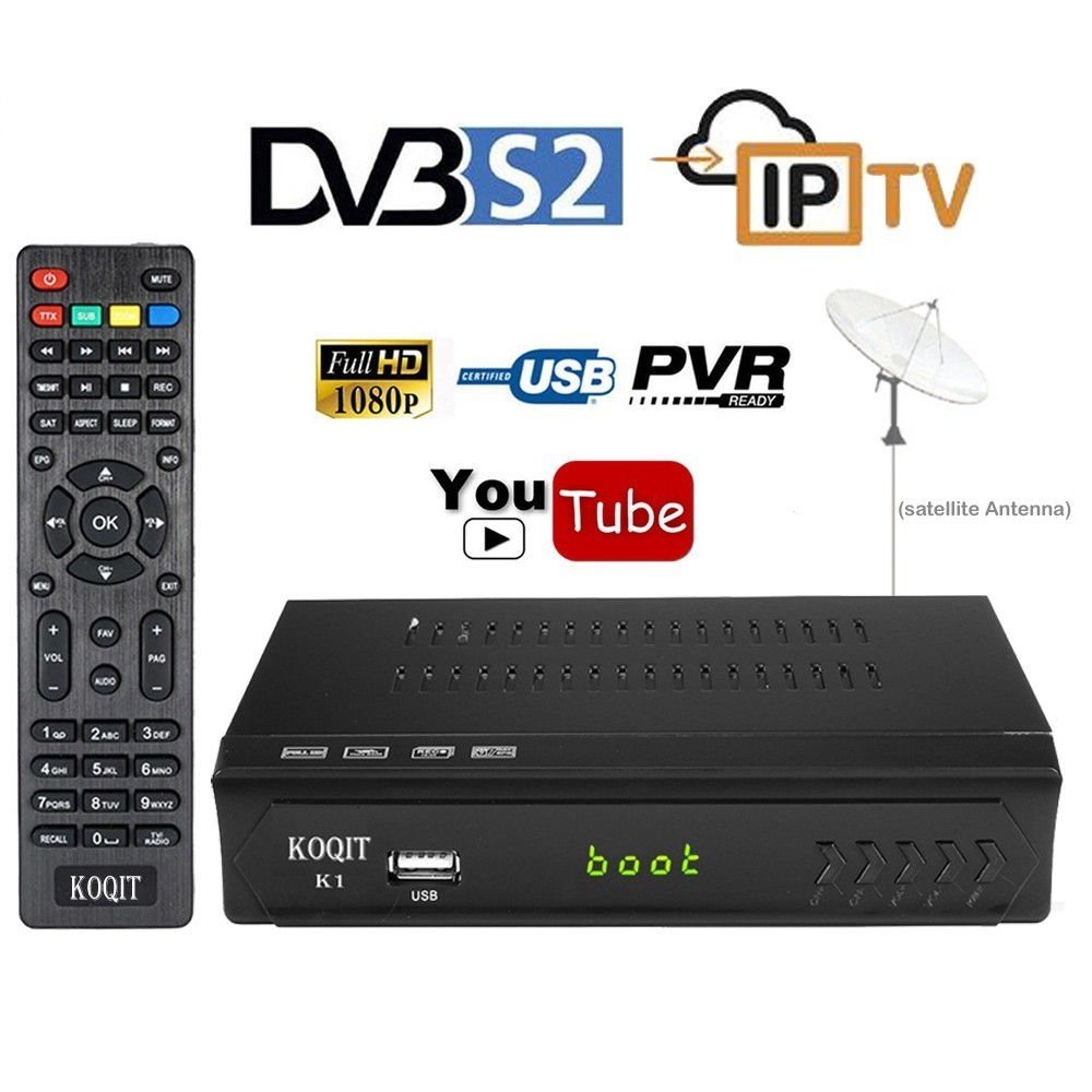 Koqit HD AC3 DVB-S2 Receptor Digital Satellite Receiver TV Tuner Box M3u IPTV Combo USB Wifi RJ45 Lan Internet Youtube VU Biss