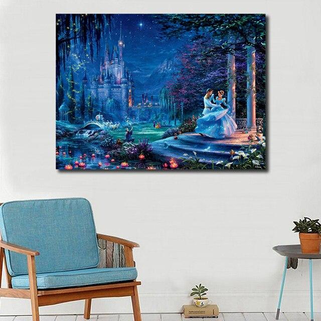 Томас Кинкейд 2018 новая Золушка Танцующая HD напечатанная Картина на холсте гостиная домашний декор Современная Настенная живопись маслом плакат