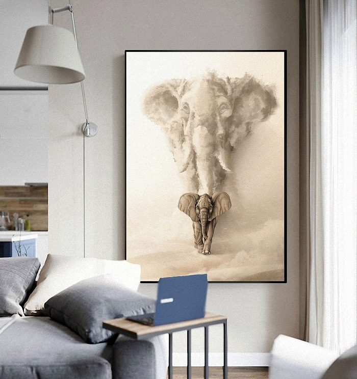 Animal Abstract Psychedelic Nordic Modern Style Desert Elephant Poster Canvas Wall living room Decoration Combined