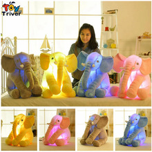 Plush Colorful Glowing Led Light Luminous Elephant Toy Stuffed Doll Pillow Sleeping Birthday Gift for Kids Children Baby Triver 35cm luminous dog plush doll colorful led light glowing dogs kids toy children girls gift kawaii stuffed animal toy