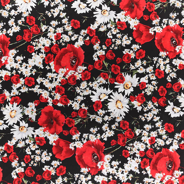 Cotton fabric 50s vintage cotton poplin fabric black and white cotton fabric 50s vintage cotton poplin fabric black and white bottom red flowers print for dress mightylinksfo