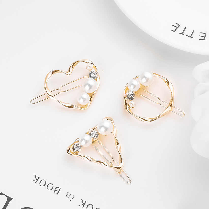 Simple Retro Wild Geometric Imitation Pearl With Rhinestones Gold Triangle Heart Small Hairpin Headdress Bangs Clip Female