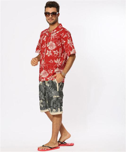 Estilo del verano camisa hawaiana ee.uu. tamaño de manga corta camisas hawaianas hombres Casual Beach Hawaii camisa rojo impreso Floral A934