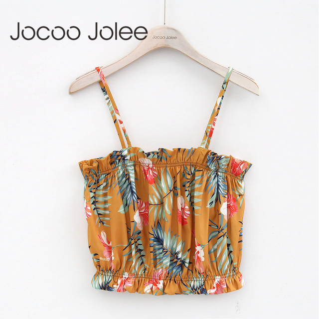 Jocoo Jolee Sexy Floral Sprint Women Camis Off Shoulder Short Tank tops 2018 Summer Beach Wearings Bohemian Style ins Fashion