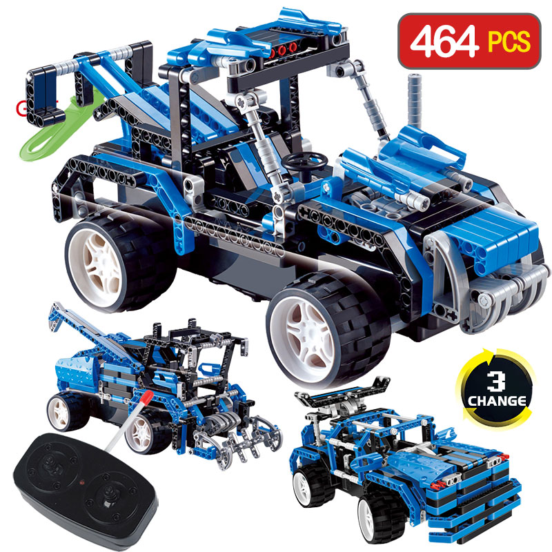 Technic Series 3 IN 1 Remote Control Building Blocks DIY Toy Compatible LegoINGlys Vehicle RC Simulation Car Toy for Children 2 in 1 rc car compatible legoinglys radio technical vehicle green suv control blocks assembled blocks children toys gift