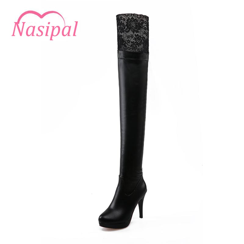 Nasipal 2017 New Women PU Sexy Fashion Over The Knee Boots Sexy Thin High Heel Boots Platform Woman Shoes Big Size 34-43 G804 big size 34 45 women boots over the knee shoes black white slim thin high boots sexy ladies fashion shoes 86278