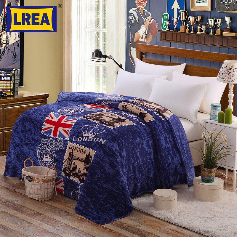 Марка висококачествени 180 * 200cm тънко меко одеяло моден печат корал руно одеяло хвърляне зимни чаршафи LREA