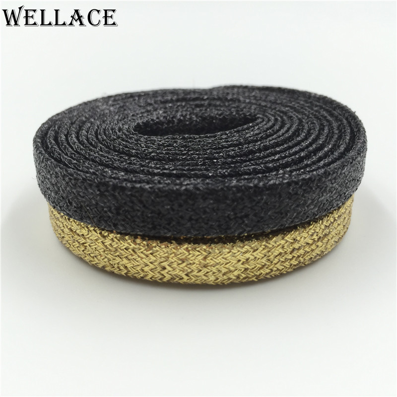 (30 pairs/Lot) Wellace Sport Golden Black Metallic Yarn Shoelaces Gold Flat Laces for Outdoor Climbing Trainer Laces 125cm/49