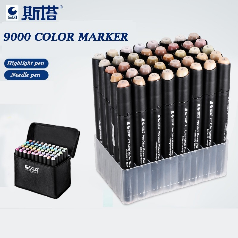 STA 12/24/36/48 Color Skin Tones Marker Pen Set Double Headed Alcohol Based Art Markers Professional Drawing Pens Art Supplies free shipping sta 3100 water color marker pen cartoon hand painted pen double head cartoon markers 24 36 48 color suit