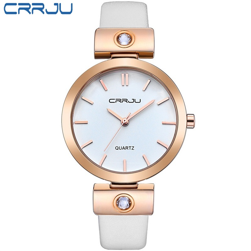 CRRJU Brand Luxury High quality Simple Quartz Leather Bracelet Fashion Women Watch Ladies Rose gold Wristwatch relojes mujer hot sale luxury crystal rose gold high quality leather quartz gift watch wristwatch for women ladies girls 1 year warrenty