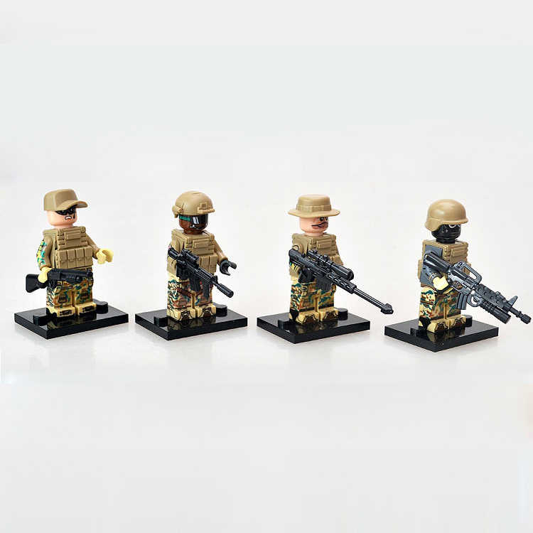 America Modern military SEAL special forces brickmania minifigs ww2 army figures building block weapon gun brick toy for boys