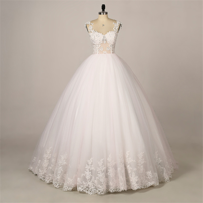 Sheer Lace Top Ball Gown Wedding Dress With Thin Straps