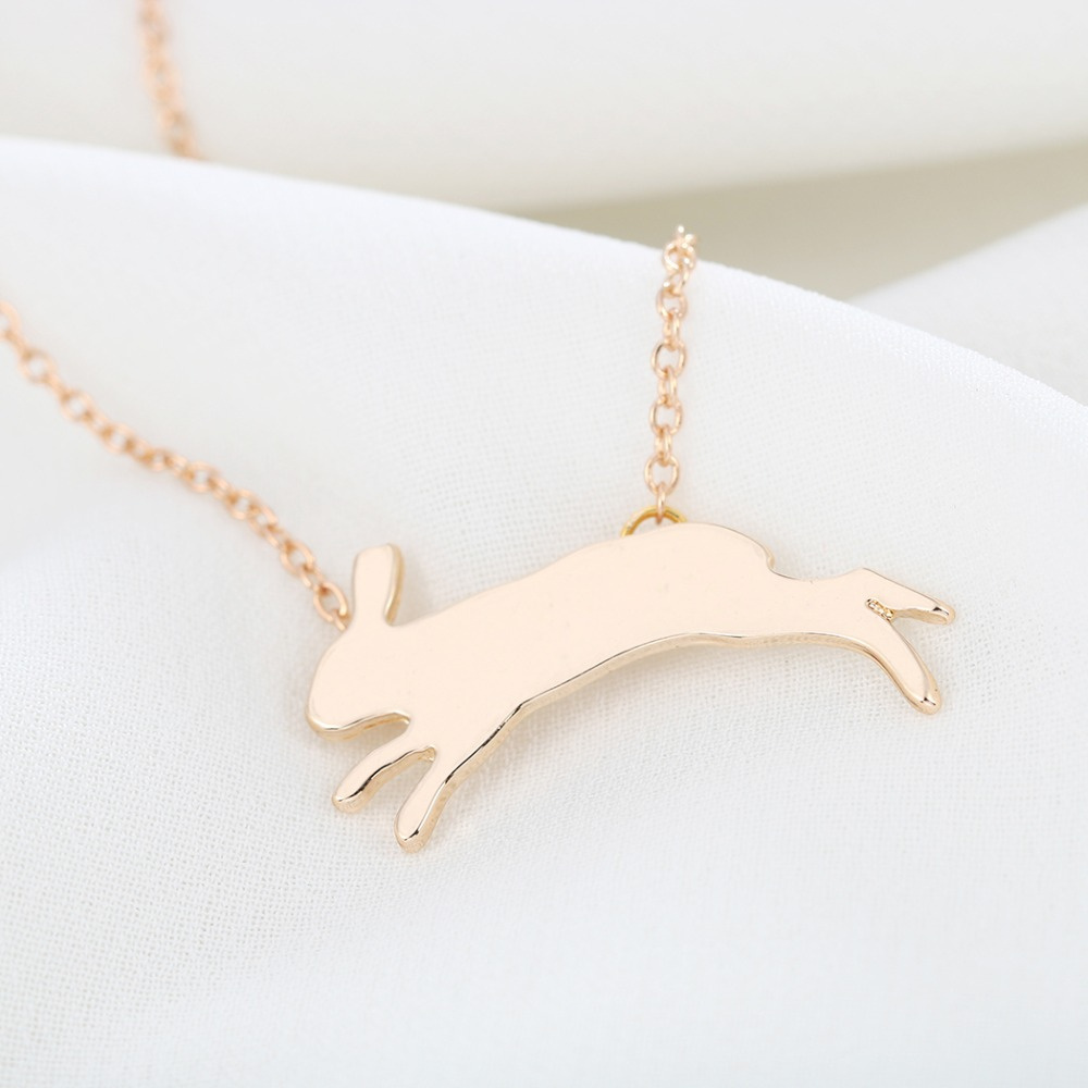 Todorova Lovely Running Bunny Rabbit Animal Necklace Pendant Christmas Gift for Women Girls Statement Jewelry Collar Femme