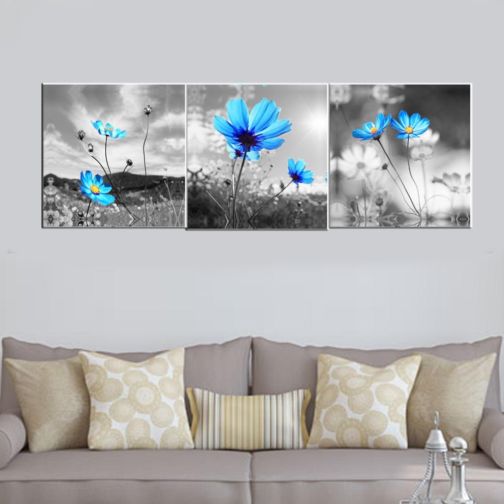 3 db A kék pitypang vászon képei a nappali szobájához - Lakberendezés