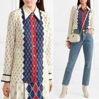 2018 rhombus plaid printing blouse women 100% silk summer top casual blusa feminina high quality roupa feminina elegant chemise