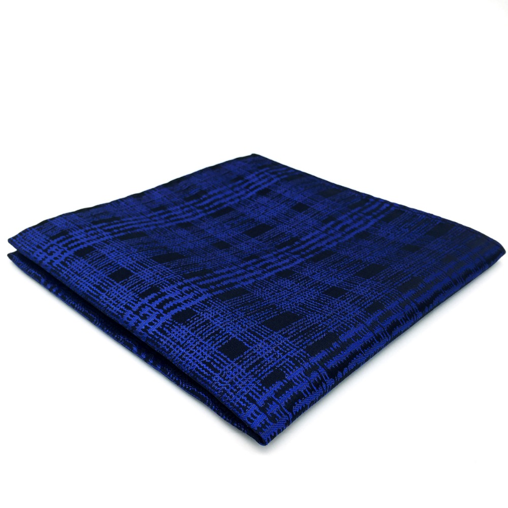 EH22 Dark Blue Checkes Mens Pocket Square Silk Classic Handkerchief
