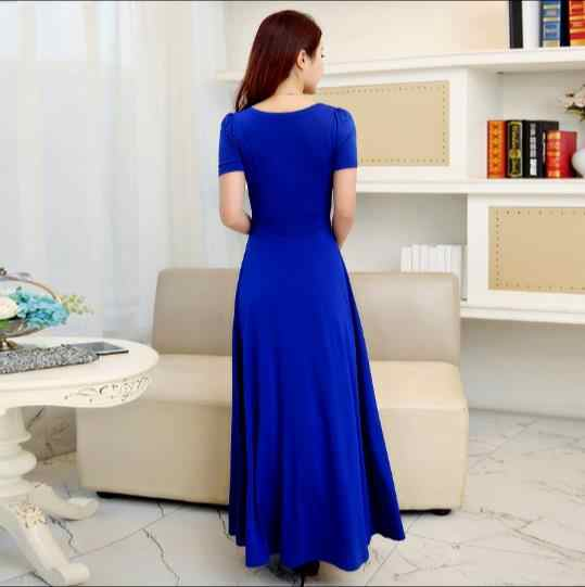 V-neck Women Summer Dress 2019 Royal Blue Long Dress Women Maxi Dresses  Plus Size Womens Clothing Robe Femme Z938
