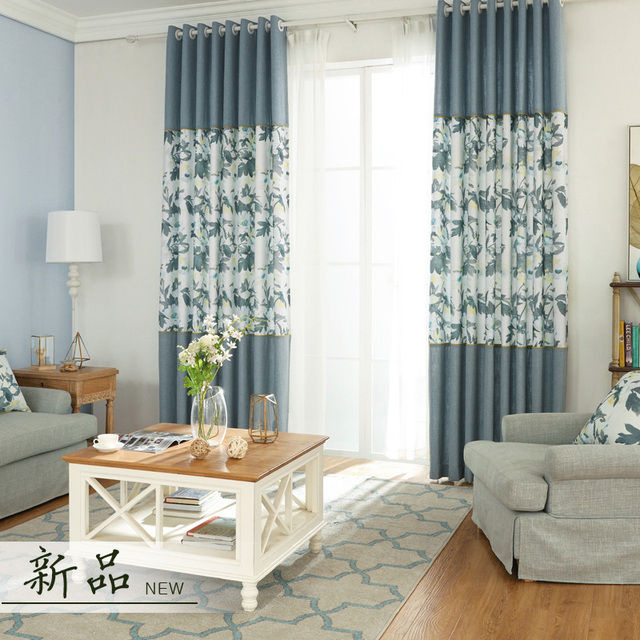 Blue Rustic Window Curtains For Living Room Floral Linen Drape