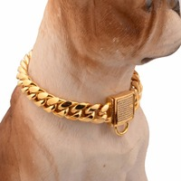 Granny Chic New White Rhinestone Lock Buckle Curb Cuban Link 14mm Chain 316L Stainless Steel Gold Dog Chain Pet Collar Choker