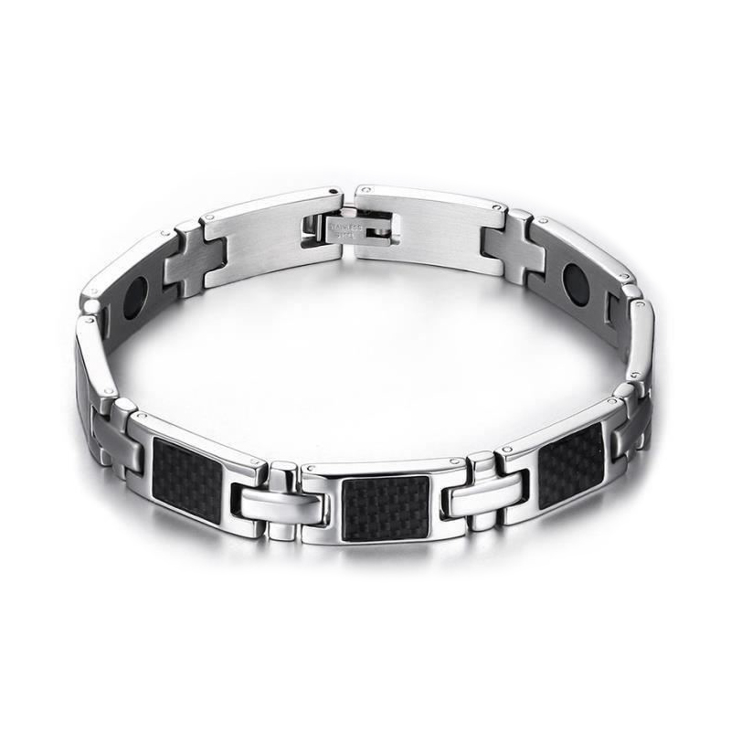 Carbon Fiber Diamontrigue Jewelry: Fashion Jewelry Luxury Bracelet Man Steel Magnetic Carbon