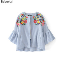 Bebovizi Fashion New Brand Linen Fabric Summer Embroidery Stripes Tops Blusas For Women Pockets Front Pocket