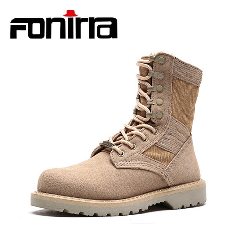 цена на FONIRRA Men Military Boats Desert Combat Ankle Boots Army Work Shoes Martin Boots Male High-top Casual Shoes Pus Size 36-48 917