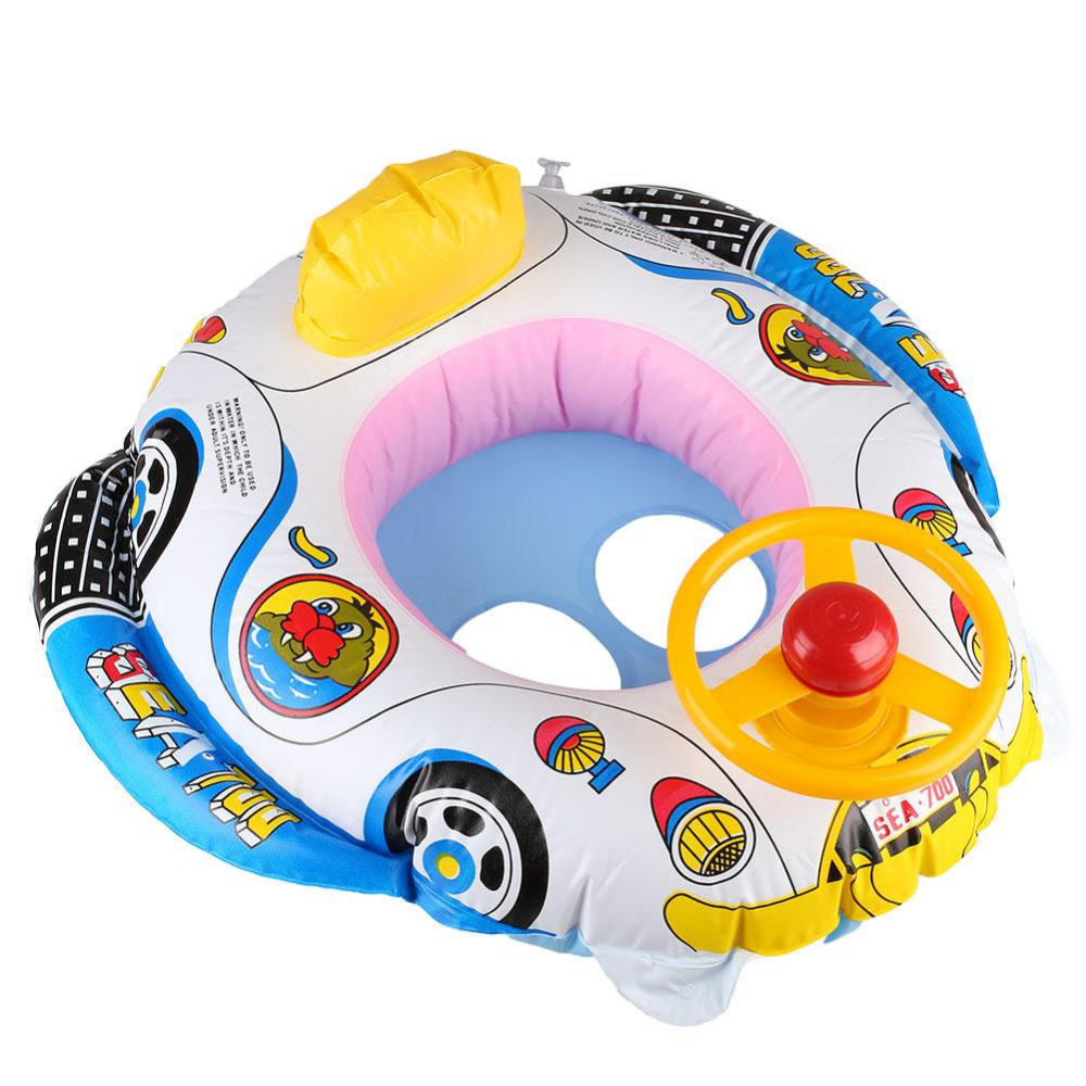 FFunny Kids Baby Inflatable Swimming Pool Ring Seat Float Aairplane style Boat aid with Wheel Horn