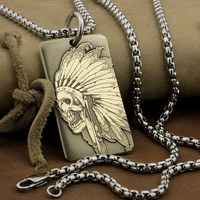 LINSION High Detail Deep Laser Engraved Brass Indian Chief Skull Pendant Biker Punk Dogtag 9X036B Steel