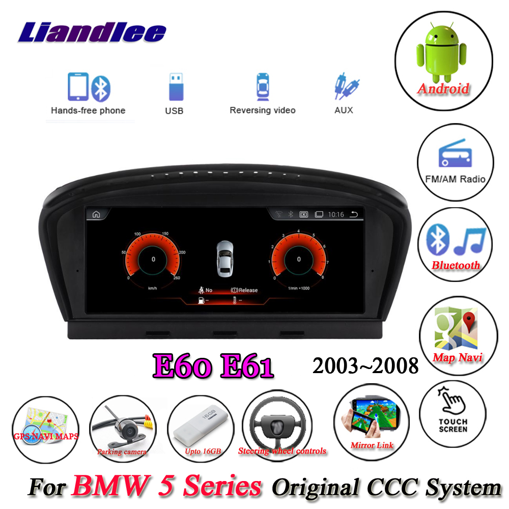Liandlee Pour BMW Série 5 E60 E61 2003 ~ 2008 Android D'origine CCC Système Radio Idrive Wifi GPS Navi Navigation Multimédia Pas DVD