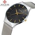 2017 Julius Brand Fashion Sports Men Watch Steel Analog Quartz Dress Wrist watch Women Thin Calendar Luxury Casual Lady Watches