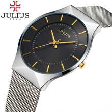 2017 Julius Brand Fashion Sports Men Watch Steel Analog Quartz Dress Wrist watch Women Thin Calendar Luxury Casual Lady Watches