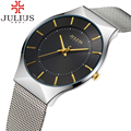 2017 julius marca dos esportes da forma dos homens do relógio de aço analógico quartz vestido relógio de pulso das mulheres fino calendário luxo casual senhora relógios