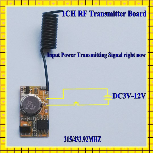 Micro Remote Control DC3V-12V RF Wireless Transmitter PCB 3V 3.6V 3.7V 4.5V 5V 6V 9V 12V Power on Transmitting 315/433 RC TX 1CH dc3 5v dc12v mini relay receiver dc3v dc12v transmitter pcb power on transmitting 3 7v 4 5v 5v 6v 7 4v 9v 12v wireless tx rx mod