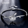 UMODE Trendy Tulip 3.44ct Pear Cut CZ simulated Diamond White Gold Plated Bileklik Bracelets Jewelry for Women Pulseiras UB0090