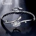 Umode moda tulipa 3.44ct bileklik pear cut cz simulado diamante branco banhado a ouro jóias pulseiras para as mulheres pulseiras ub0090